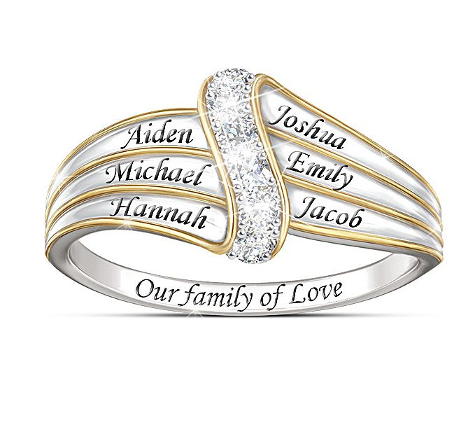 our family of love personalized diamond ring mothers. Black Bedroom Furniture Sets. Home Design Ideas