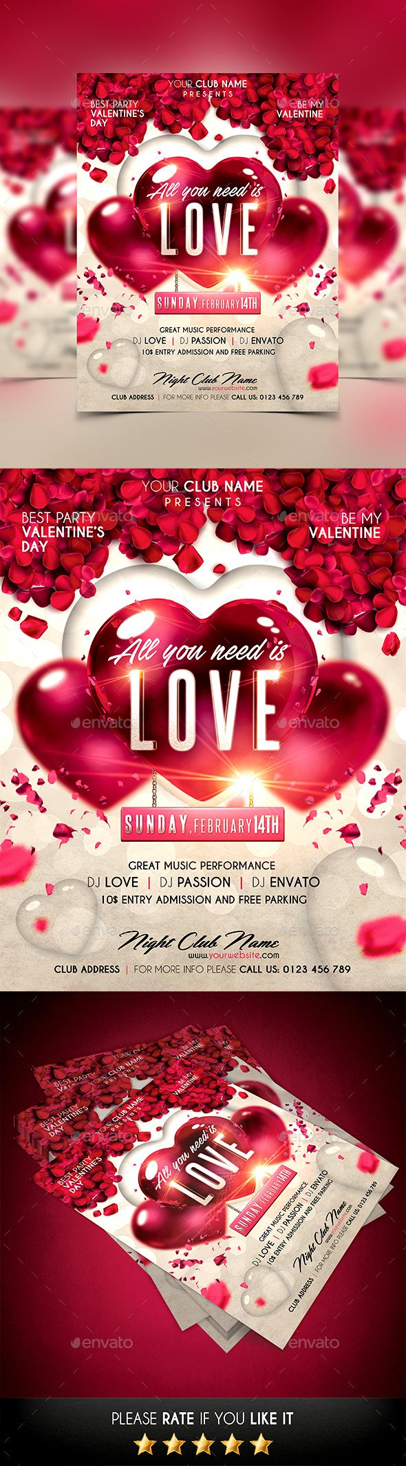 Valentines Day Flyer Template PSD #design Download: http://graphicriver.net/item/valentines-day-flyer/14428405?ref=ksioks