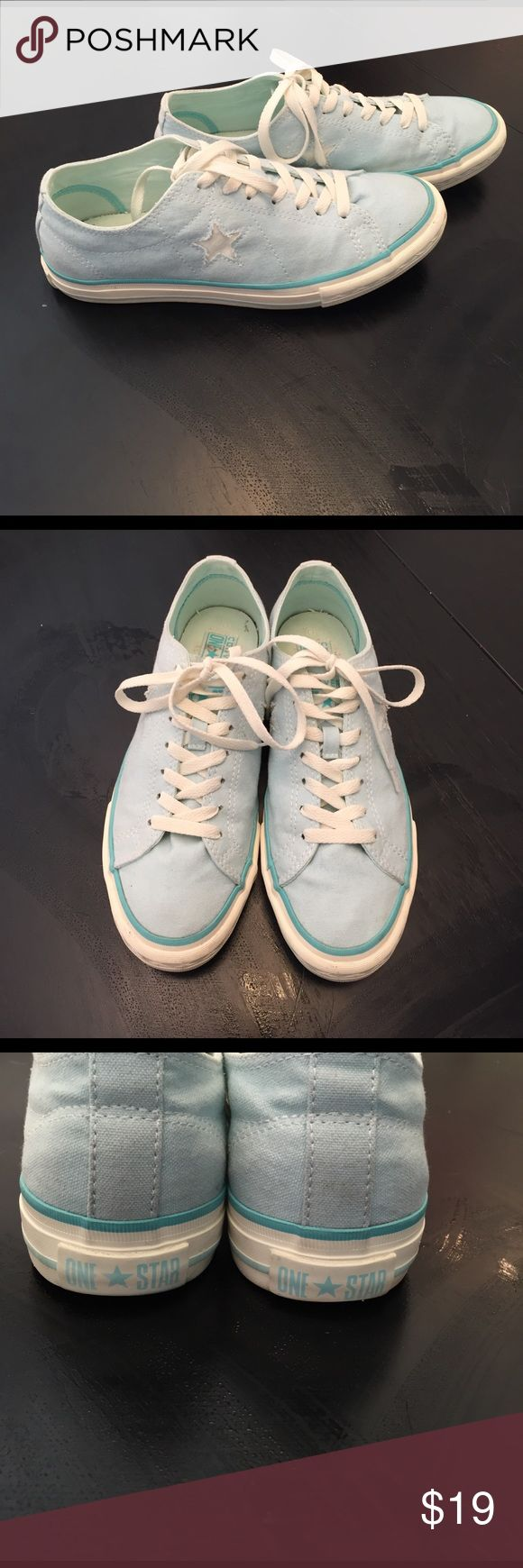 """Converse One Star Sneakers Amazing cool mint converse!  Reminds me of a great childhood, eating ice cream and chasing the boys in their bikes!!  Very pastel teal color. Of course the One Star Converse are the """"got to have"""" sneakers. Worn to one event and retired to my closet. Just in time for Summer! Converse Shoes Sneakers"""