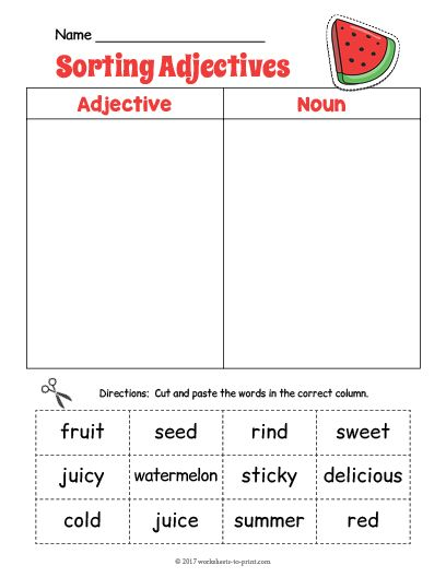 Free Printable Watermelon Adjective Sorting Worksheet