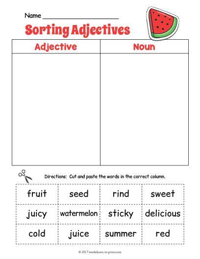 Free Printable Watermelon Adjective Sorting Worksheet