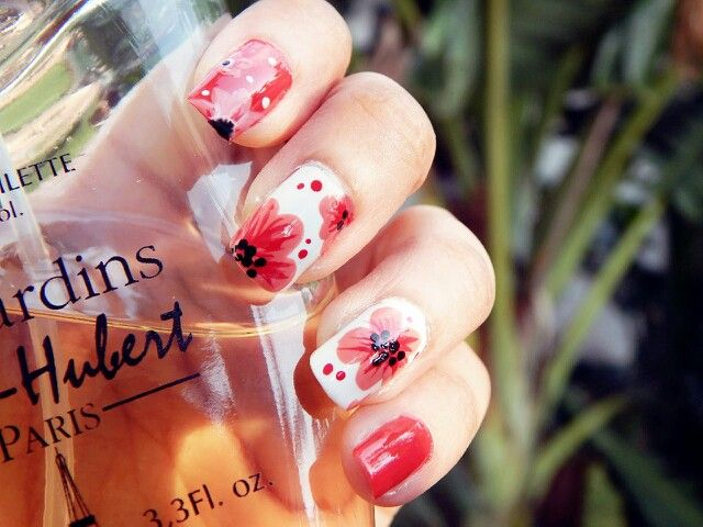 #summer_love #bright #nail art #orange