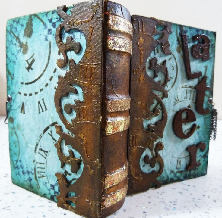 Michelle Webb The Hobby Room UK  Altered paper mache book.  love the colors..