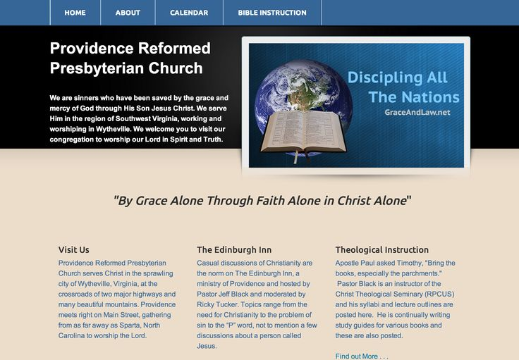 This a new website design for a Reformed Church located in Wytheville, VA. The leadership there was great to work with.