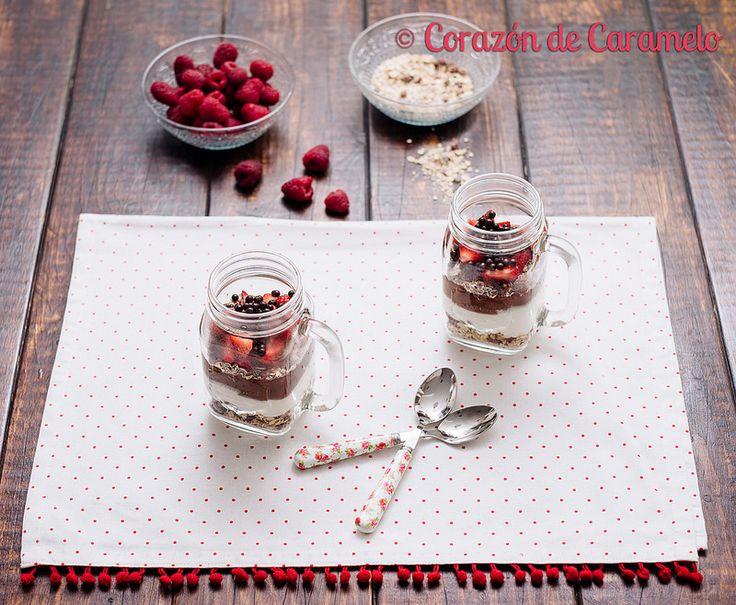 Postre fácil de Avena, Yogur y Chocolate