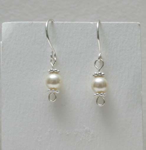 Swarovski Mother of Pearl glass beads and silver by BeccsCreations, $10.00
