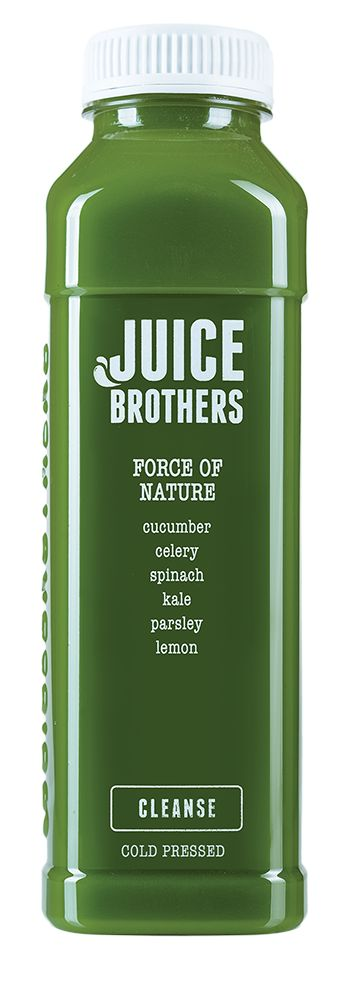Force of nature - Cold pressed Juice.    = cucumber, celery, spinach, kale, parsley, lemon  +  cleansing, detox, vitality, weight loss. We use only greens and a touch of lemon in this monster juice! Drink this if you're looking to boost your health and want to avoid fruit sugars. Somewhat hardcore.