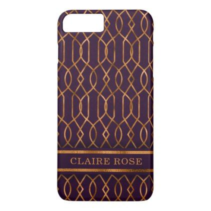 Chic Geometric Purple Gold Lattice Pattern iPhone 8 Plus/7 Plus Case - #chic gifts diy elegant gift ideas personalize