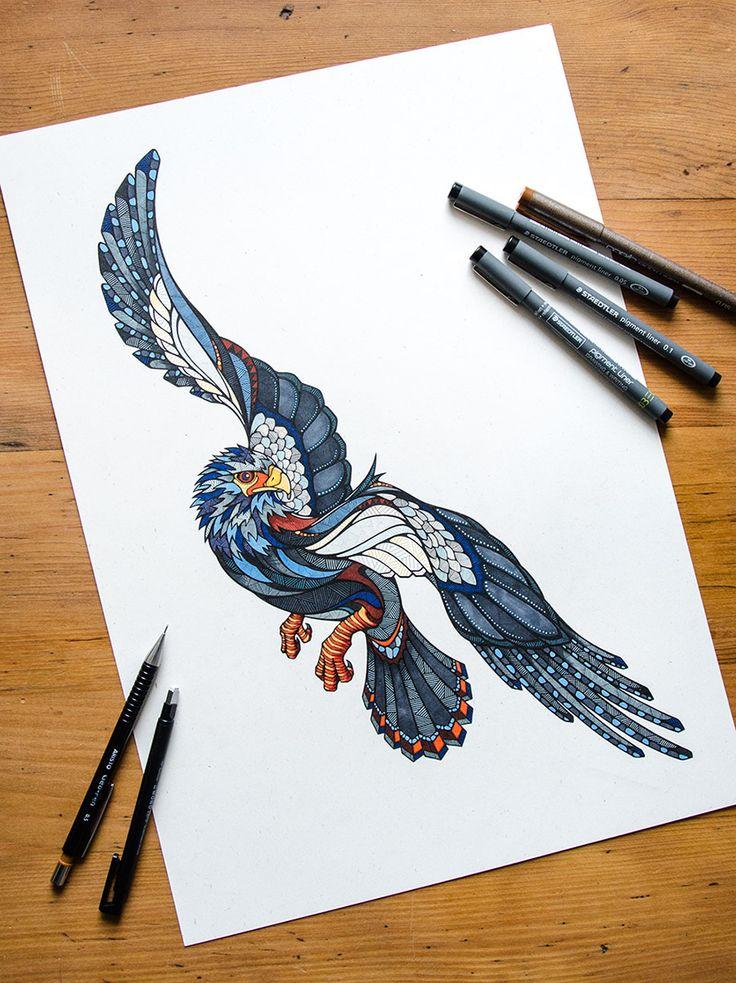 Eagle Drawing by Andreas Preis // Animal Poker // www.designerpreis.com