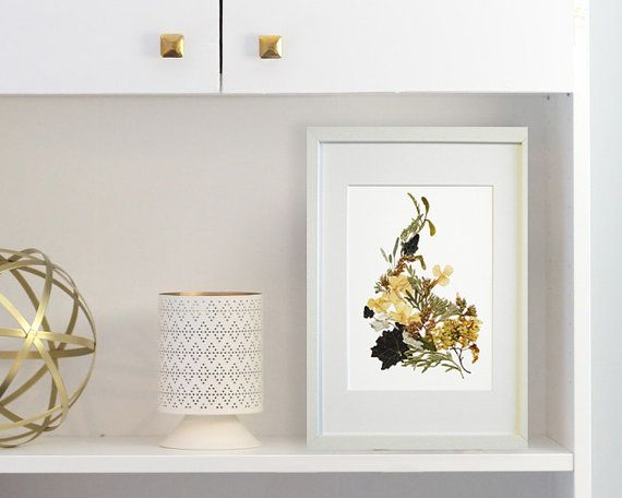 Botanical print Framed dried flowers art Pressed flowers wall
