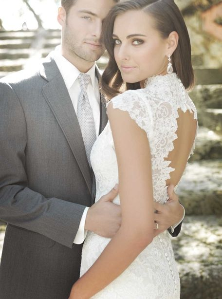 Fabulous A grey tux and lace wedding dress Love thegrey with the lace