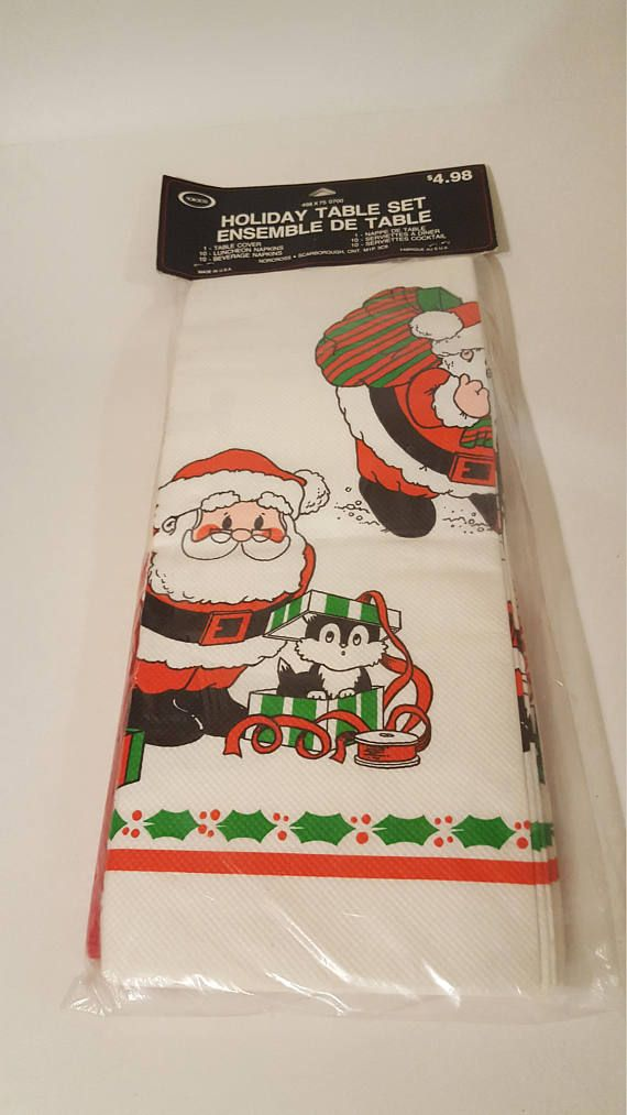 Check out this item in my Etsy shop https://www.etsy.com/ca/listing/580619047/vintage-christmas-tablecloth-and-napkin