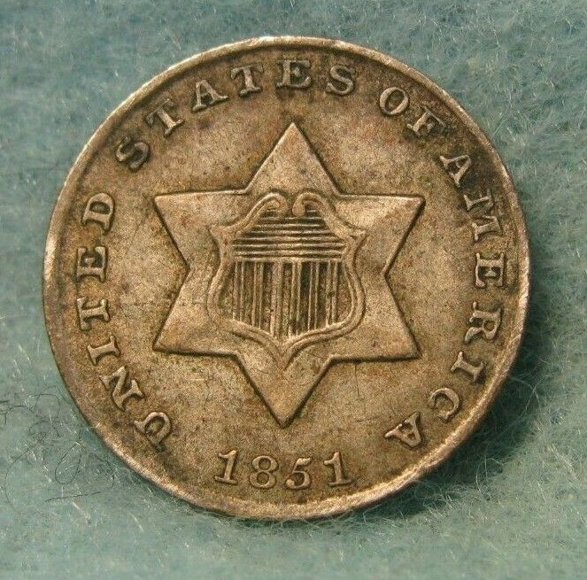 1851 Three Cent Silver Xf Nice Us Coin Coins Silver Coins Silver Bullion