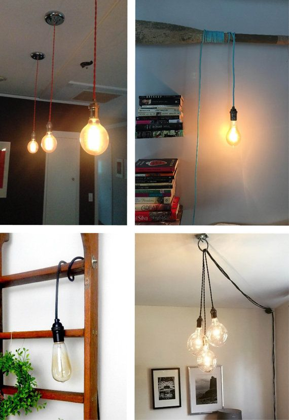 Pendant Light - Any Color - Pendant Lamp Hardwired or Plug In Light Vintage Antique Cord Pendant Lighting