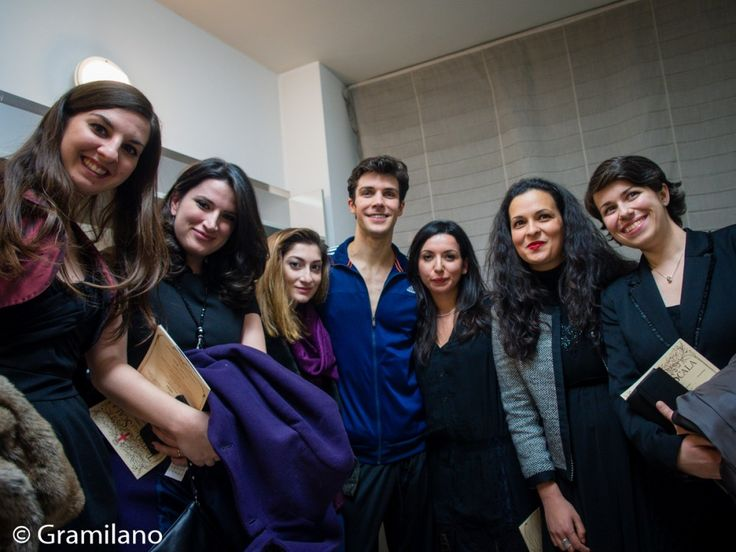 Roberto Bolle in his dressing room with fans
