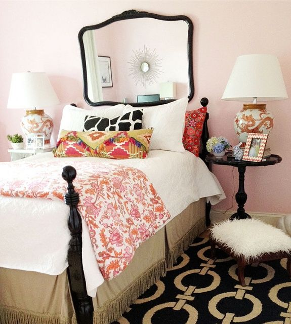 Well, this did it!  I love pink and pink and black, mirrors, painted furniture and toile!  Can't beat this room, for me.