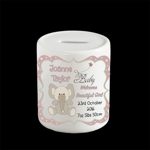 Personalised Elephant money box, piggy bank, birthday gift, Christening new baby gift
