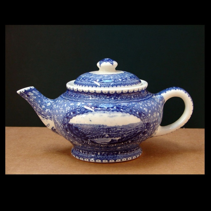Baltimore & Ohio Railroad Blue Centenary China Tea Pot Scammells Lamberton Design Patented