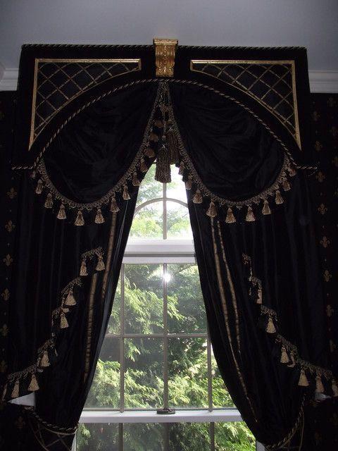 Black Amp Gold Drapes Window Treatments Pinterest