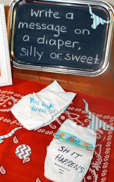 Write a silly or sweet msg on diapers