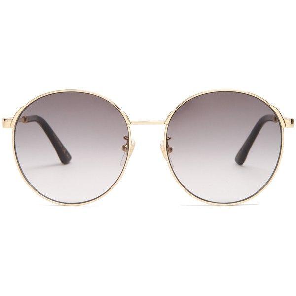 a80b364db32 Gucci Round-frame Web-striped sunglasses (1