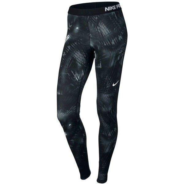 Nike Pro Warm Printed Leggings ($55) ❤ liked on Polyvore featuring pants, leggings, nike, legging pants, blue print leggings, blue print pants and blue leggings