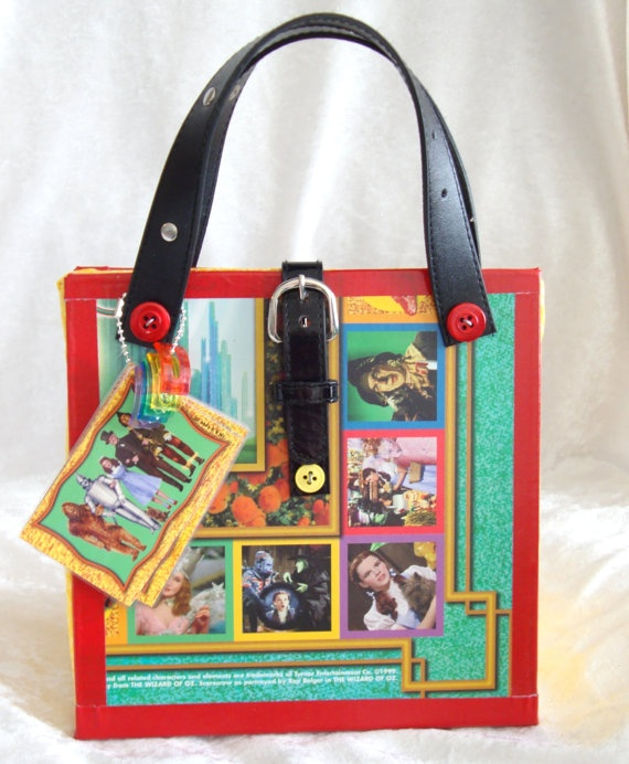 Upcycled Wizard Of Oz Board Game Purse Novelty Gift made from a 1999 Wizard Of Oz Trivia  game board recycled
