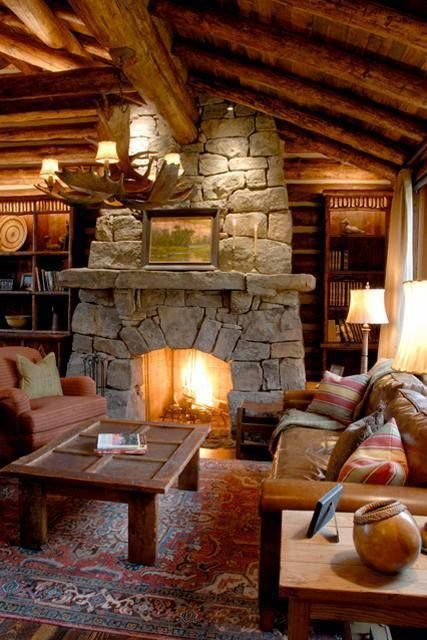 25 best ideas about cabin fireplace on pinterest for Log cabin fireplace designs