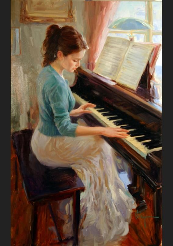 "Familiar Melody. Vladimir Volegov.  Volegov received an education at the art school, ""Krivoj Rog."" After serving in the army, he then was admitted to the Lvov Polygraphic Institute in the former Soviet Union.   Over the past fourteen years, his art has evolved into the striking figurative work he creates today. Volegov's vibrant color palette and bold strokes coalesce to create evocative images that possess a timeless sensibility."