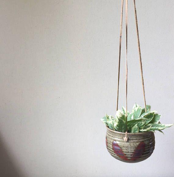 Vintage Ceramic Pot Hanging Planter   Small Vintage Hanging Pottery Planter   Hand Painted Ivy Pot   Home Garden Decor