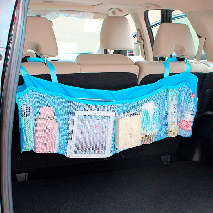 Organizador grande en color azul para auto, tiene 4 bolsas con resorte para guardar cualquier pertenencia y son de red para ver todo lo que lleva, es de fácil instalación pues cuenta con cintas ajustables para ponerlo a cualquier altura en los asientos. #Organizador #Auto #Azul #Niños #Cajuela #Regalo #México