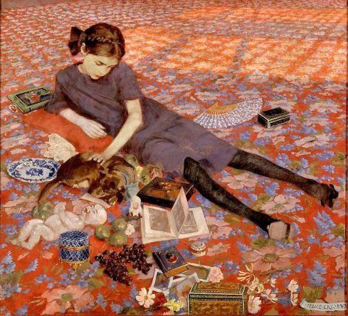 ragazza sul tappeto rosso  Felice Casorati (1883 – 1963, Italian)