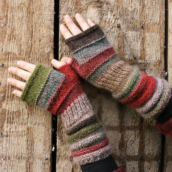 Lingonberry Tea Striped Fingerless Unmatched by WrapturebyInese