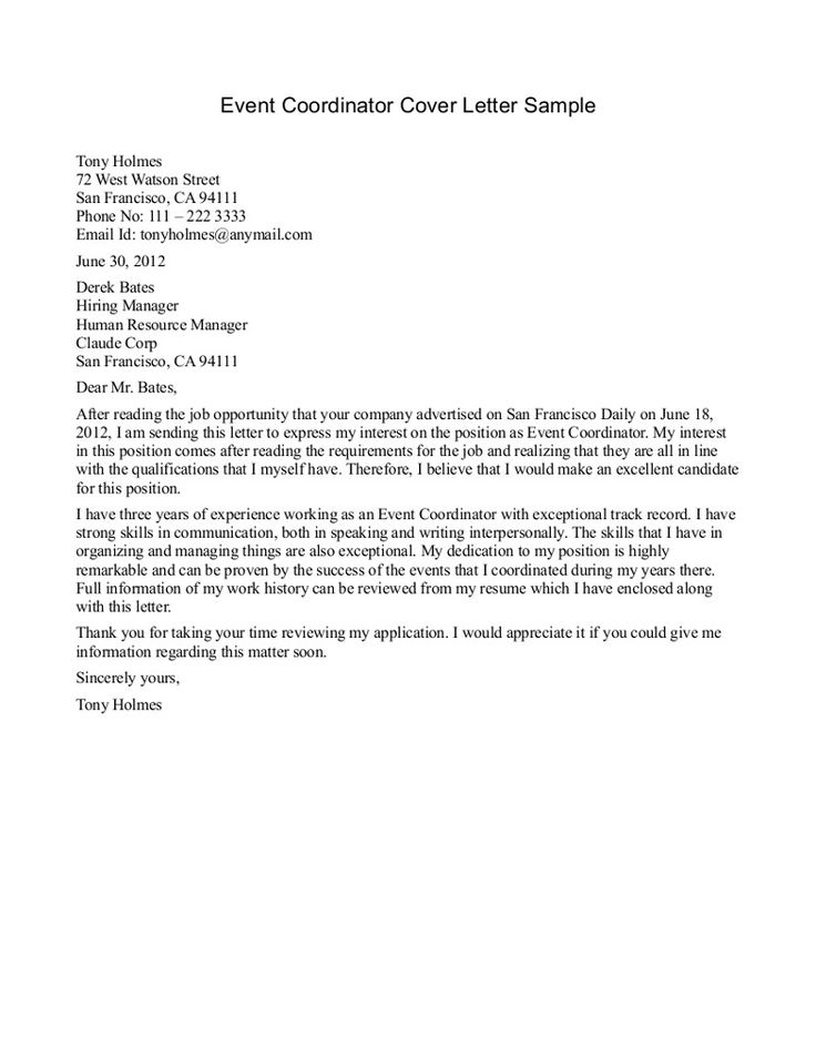 coordinator cover letter cover letter sample of a
