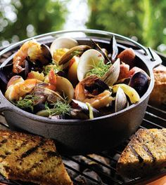Grilled Bouillabaisse Packets, a recipe I created for Clean Eating magazine