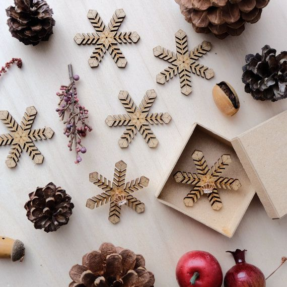 Wooden Snowflakes Card with Earrings 03 by VanesDay on Etsy