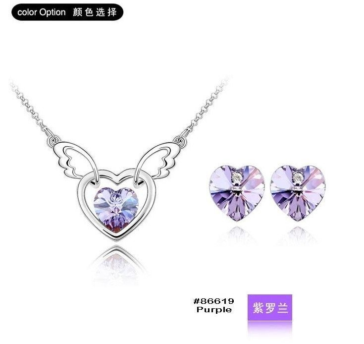 Super Price Fashion Heart-Crystal Set/1Pair Earring+1Piece Necklace,Purple /Rose Red Colors,Christmas Gift,Free Shipping on AliExpress.com. $8.29