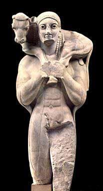 Moschophoros,ca 570-560 a.C.Marmo a tutto tondo.Da Tene. Oggi conservato presso Atene ,Museo dell'Acropoli