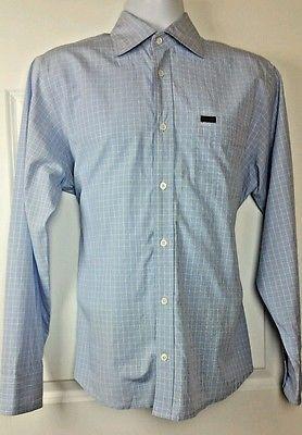 Faconnable Blue Checked Cotton M/S Button Front Shirt Men's M (Medium) EUC D