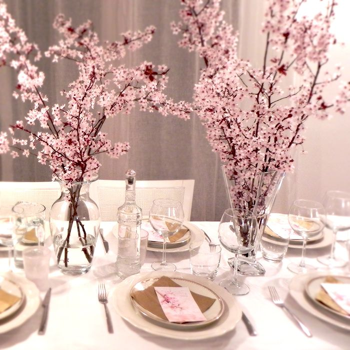 Dinner with friends #Table, #peachflowers, #dinnerwithfriends