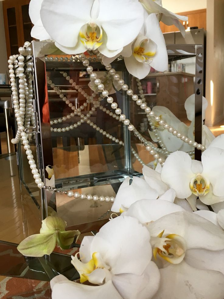 Card holder  Wedding card  Lantern wedding  Luxe wedding  DIY Pearls  Phalaenopsis Orchids Orchids
