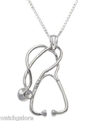Solid 0.925 Sterling Silver Medical Doctor Stethoscope Charm Pendant Necklace