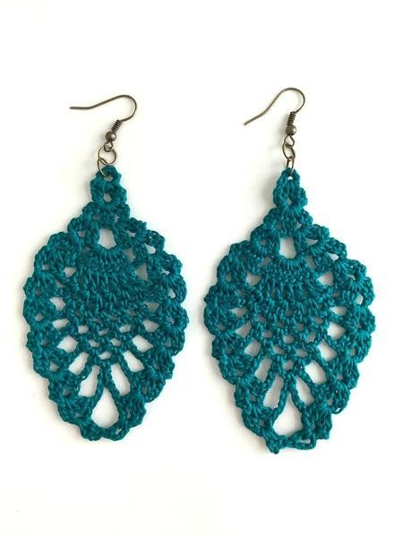 Throw on these cute crochet earrings for a casual day out on the town! These earrings are handmade by New Orleans local artist, Lady Valkryie. Measurements: 2' wide ; 3.5' long. Available in a variety