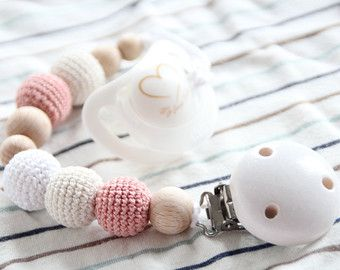 Natural Baby pacifier clip / Dummy holder / Crochet beads / Safe for teething !!!  This pacifier clip is made from natural materials - high