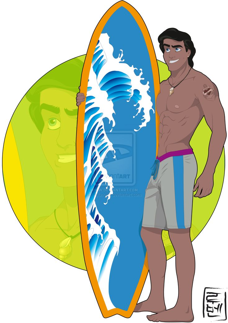 Disney University - Eric by Hyung86.deviantart.com  I'll always see Eric like a trendy surfer with his surfboard and his tattoos XD