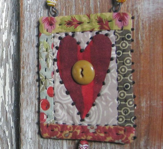tiny heart quilt - one of a kind - hand stitched - big red heart - perfect for using up scraps and buttons from the button box.
