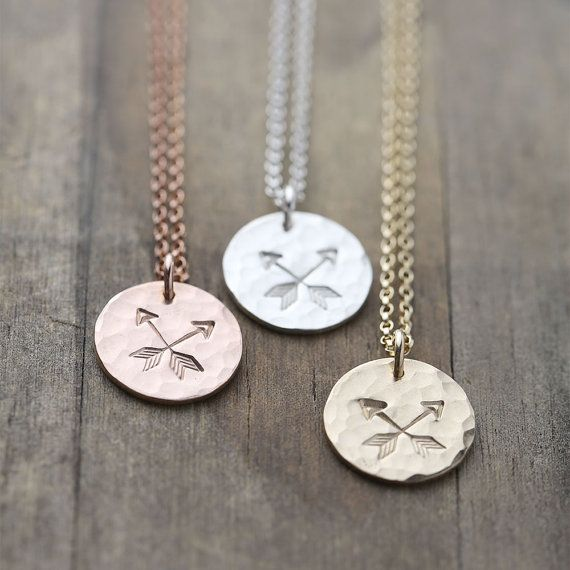 These hammered and hand stamped Crossed Arrows Friendship Necklaces feature a pair of crossed arrows, the symbol of friendship and love. Makes a lovely Valentine's Day gift for friends. #AD