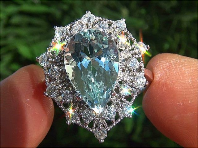 Estate Natural Aquamarine Diamond Vintage Cocktail Ring White Gold