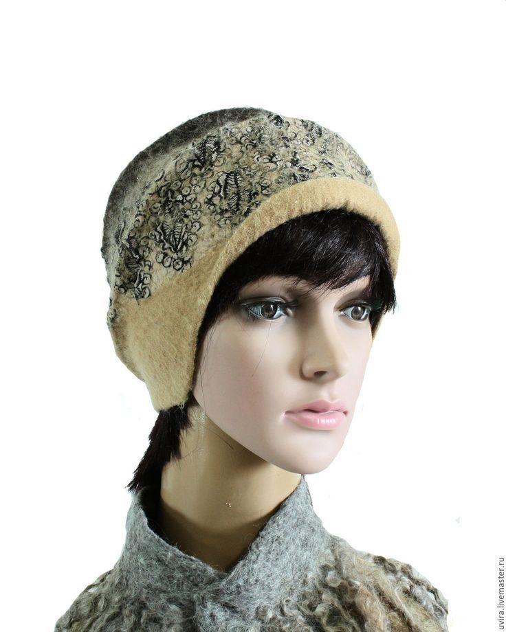 """Купить """"Александра"""" шляпка - авторский войлок - бежевый, песочный, серый, черный, шапочка"""