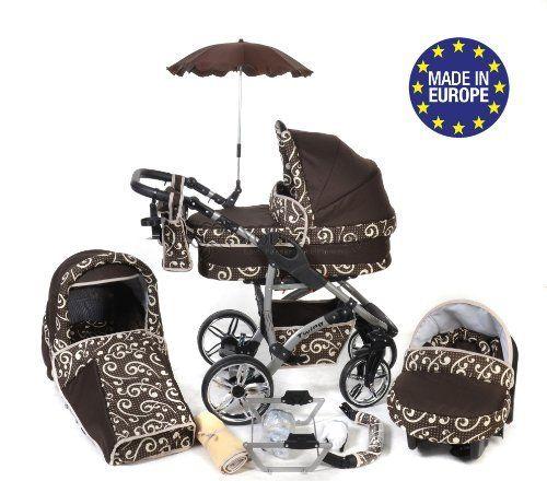 Baby Sportive Twing - Sistema de viaje 3 en 1, silla de paseo, carrito con capazo y silla de coche, RUEDAS GIRATORIAS, parasol y accesorios, color marrón, lunares, flores